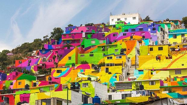Un quartier mexicain transformé en arc-en-ciel