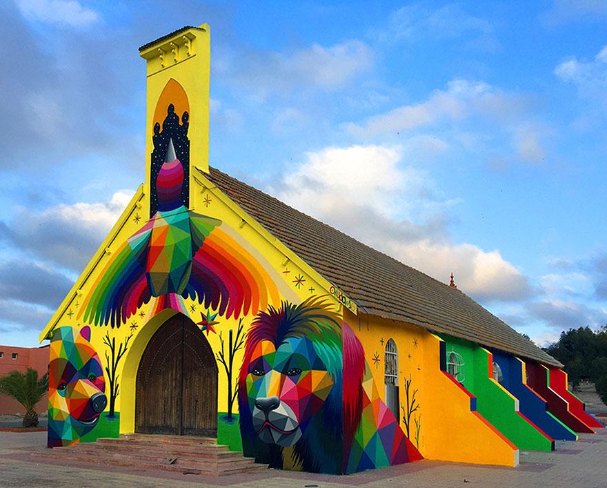 église abandonnée colorée 1