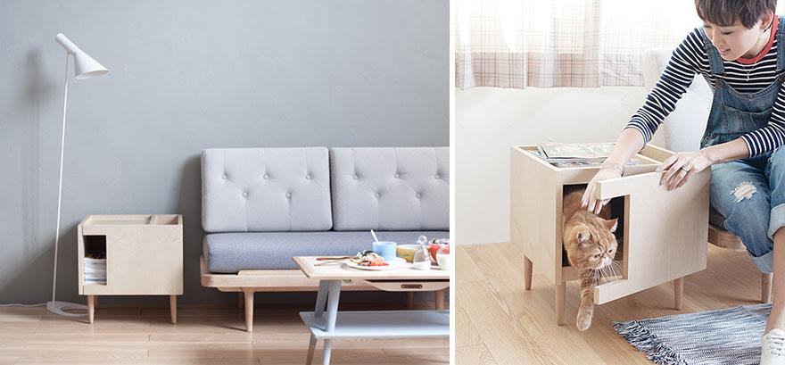 25 superbes id es de meubles design pour les amoureux des - Meuble litiere pour chat ...