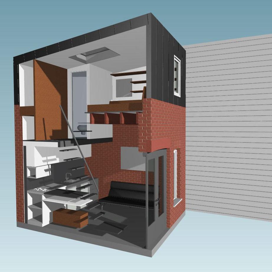 Compact apartment best free home design idea for Appartement dans maison