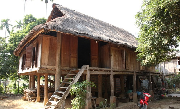 A traditional house on stilts in Mai Chau
