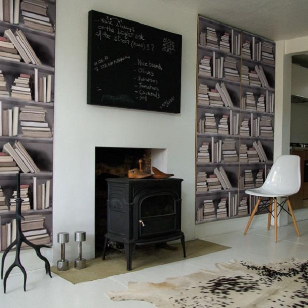 du papier peint tag re de livres. Black Bedroom Furniture Sets. Home Design Ideas