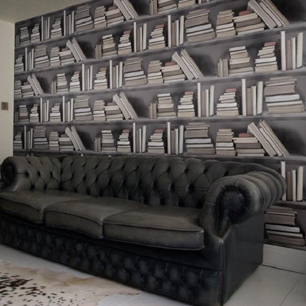 papier peinte étagère de livres (3)
