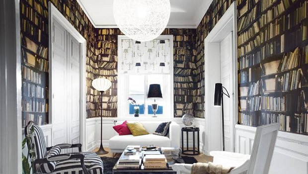 Du papier peint «étagère de livres»