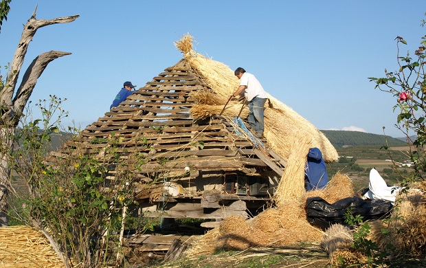 Restauration d'un toit de palloza