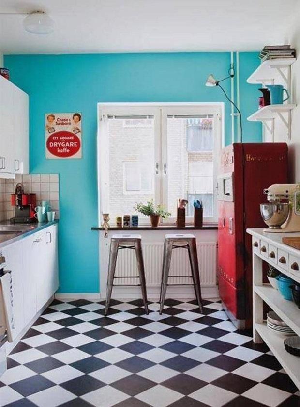 de superbes cuisines retro sur ton de bleu