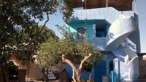 Maison bleue de style nubien à Assouan