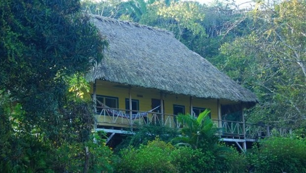 Belle maison sur pilotis en bois et au toit de chaume à San Ignacio