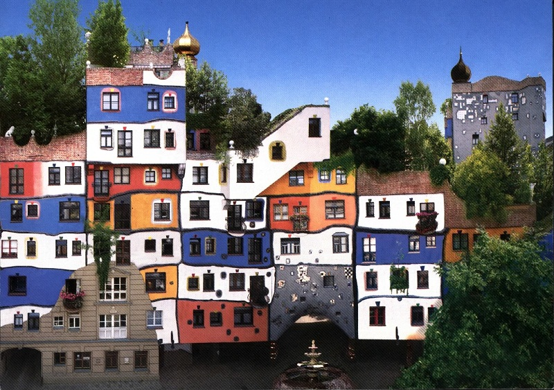 hundertwasserhaus vienne. Black Bedroom Furniture Sets. Home Design Ideas