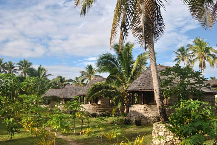 Bungalows architecture traditionnelle Tonga