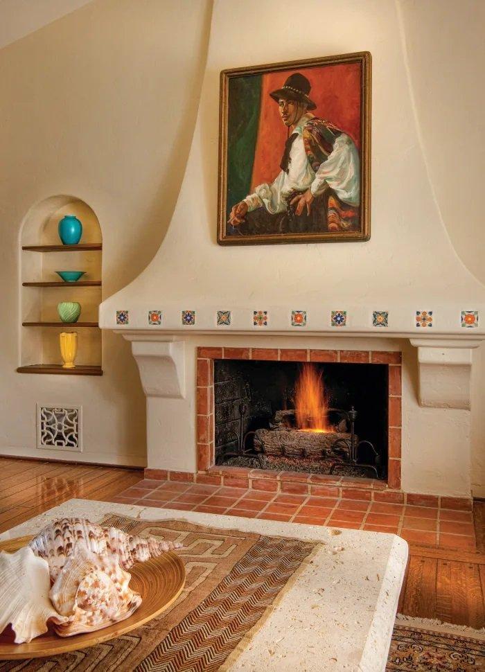 cheminée maison style espagnol