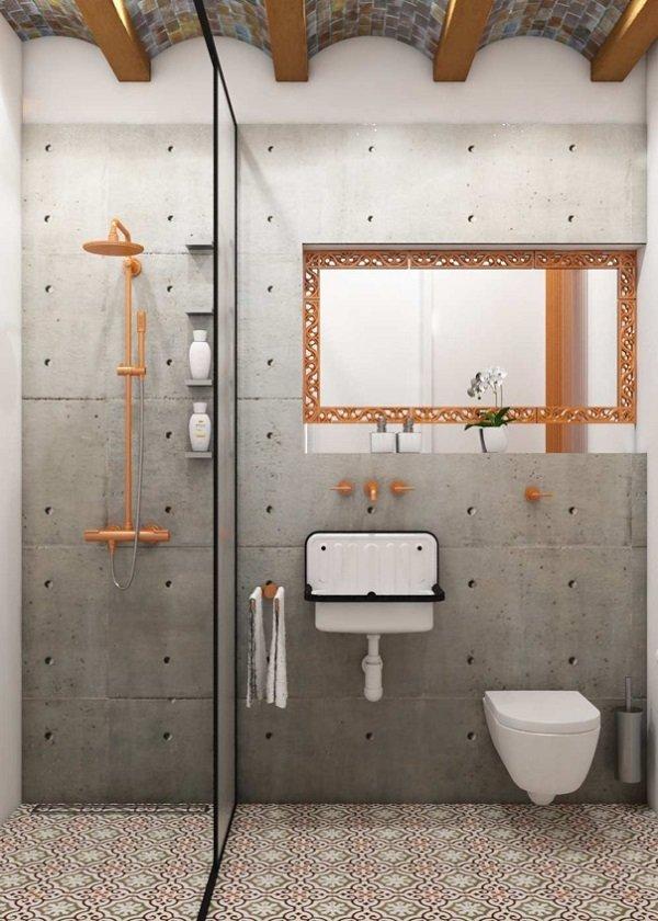 salle de bain mur beton