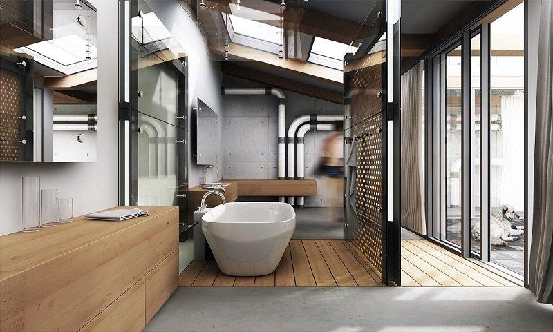 salle de bain au style industriel