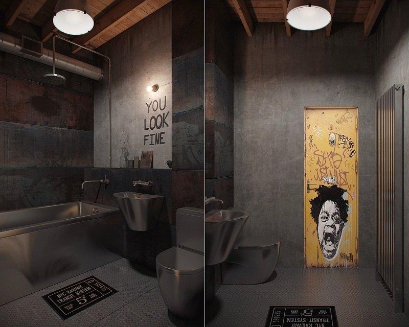 salle de bains au style industriel